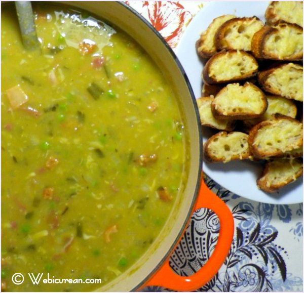 Split Pea Soup with Gouda Crostini