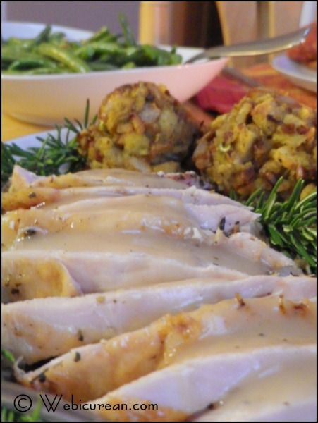 Turkey Roasted in White Wine with Pan Gravy