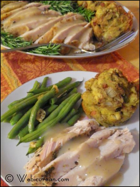Roasted Turkey, Cornbread Stuffin' Muffins & Green Beans