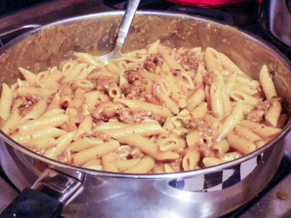 Penne with Spicy Pumpkin and Sausage Sauce #SundaySupper | Webicurean